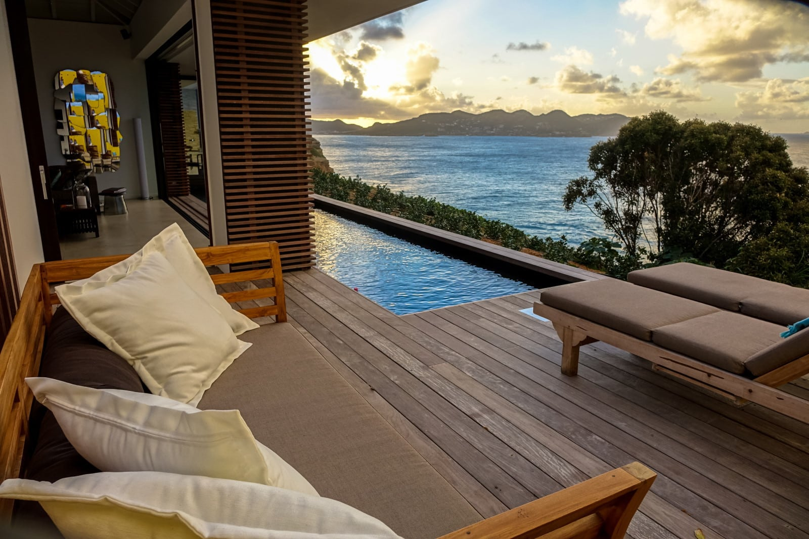 Romantic sunset view in the pool and sundeck of my villa BelAmour, St. Barths